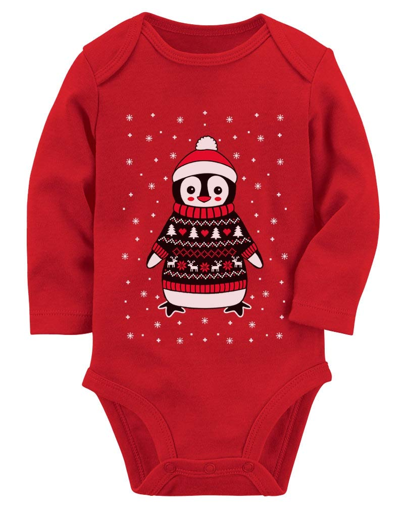 Cute Christmas Penguin Ugly Sweater For Boys and Girls Baby Long Sleeve Bodysuit
