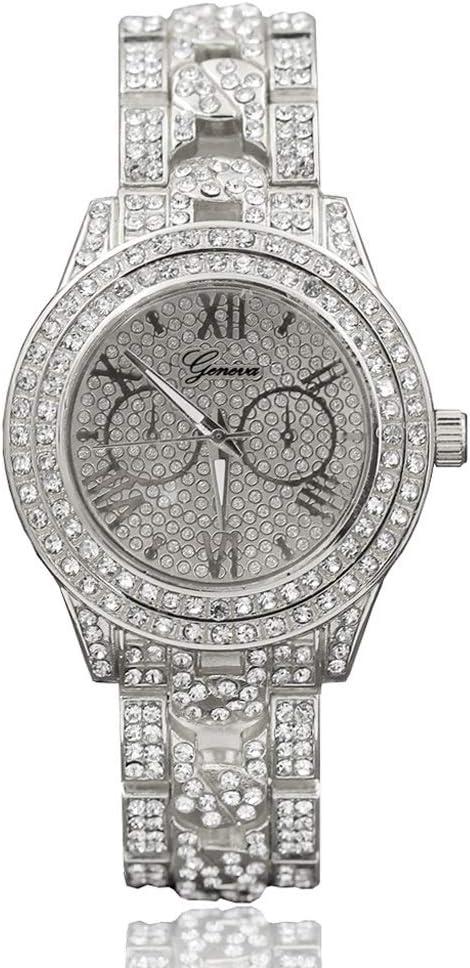 Reloj de Las Mujeres con el Diamante Binocular Reloj de Acero Ultra Fino Relojes de Pulsera for Las Mujeres Moda for Mujer Vestido de Banda (Color : C)