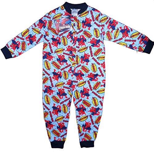 TopsandDresses Little Boys' Long Sleeve Character Pyjamas Pjs Onesie 3-4 Years Spiderman Light Blue