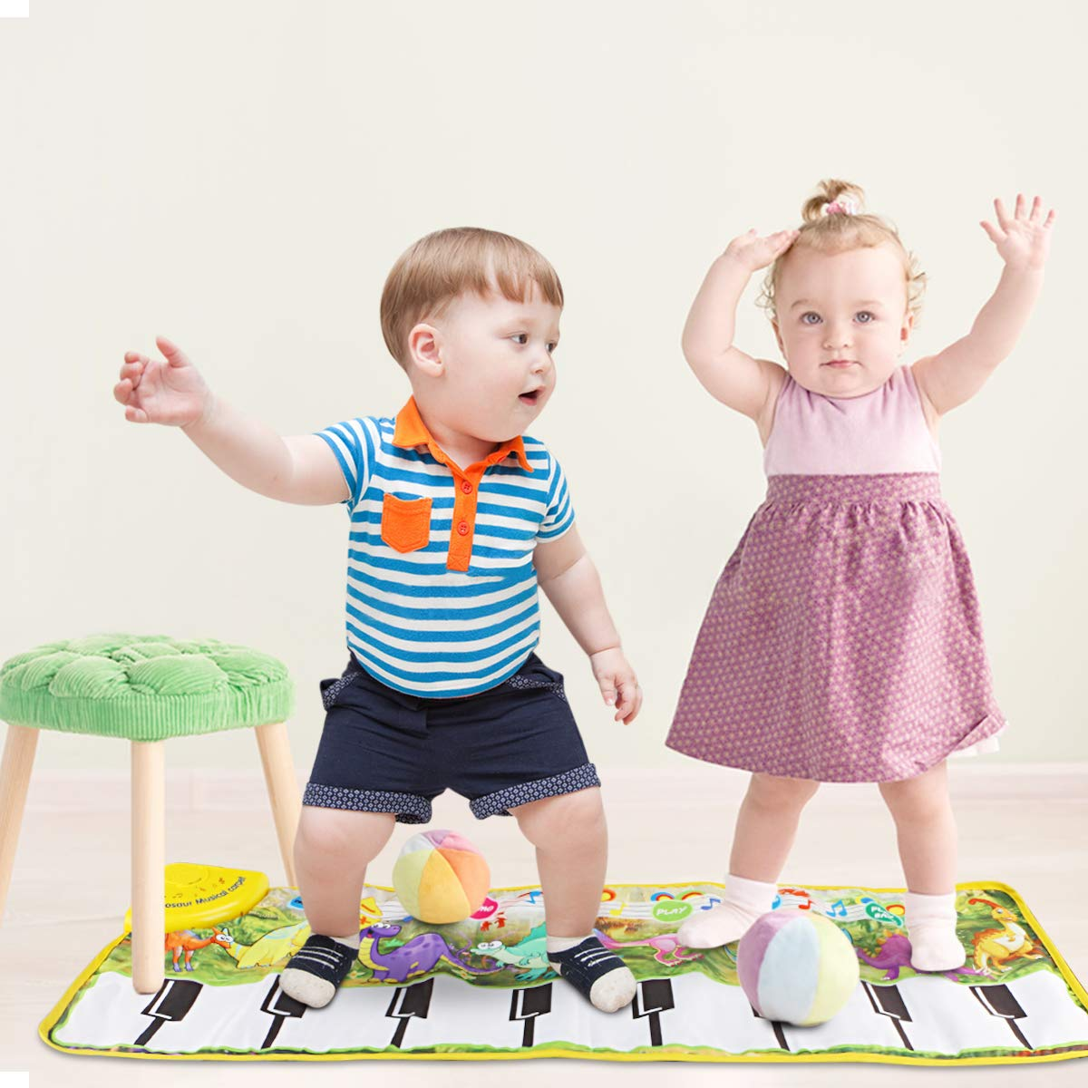 Piano Mat, Tencoz Musical Piano Mat with 8 Dinosaurs Sounds Portable Electronic Educational Musical Blanket Dinosaur Toys Gifts for Kids Toddler Girls Boys by Tencoz (Image #6)