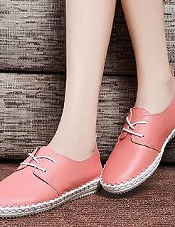 NJX/ 2016 Chaussures Femme - Bureau & Travail / Habillé / Décontracté - Rose / Blanc - Talon Plat - Confort - Richelieu - Cuir pink-us5.5 / eu36 / uk3.5 / cn35 MKJMK