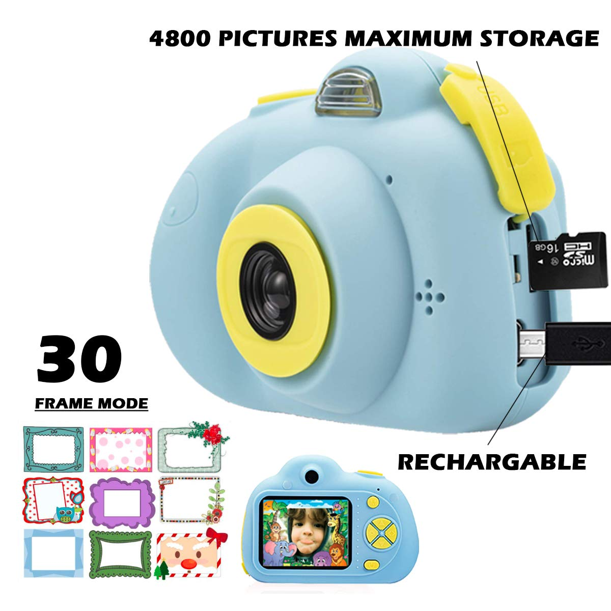 KIDOVE Kids Toys Fun Camera, Waterproof & Shockproof Child Selfie digital game Camcorder, 8MP 1080P dual camera Video Recorder, Creative Birthday Gifts for girls and boys, 16GB TF Card Included (Blue) by KIDOVE (Image #1)