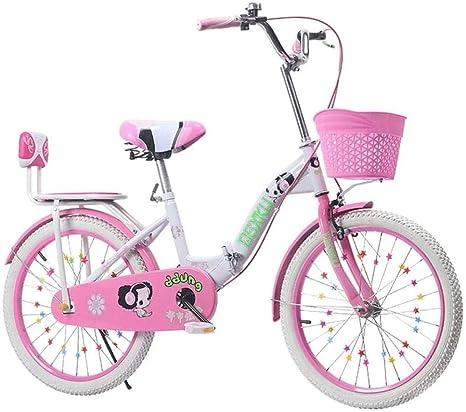 XXCZB Bicicletas Niños Bicicleta Plegable Bicicleta Rosa Bicicleta púrpura Escuela Niños Bicicleta Hogar Bicicleta Bicicleta de Ejercicio 3~15 años (Color: Rosa)-20 ...