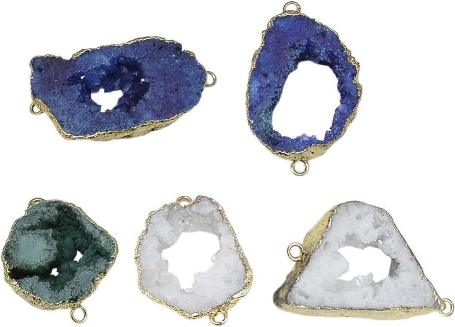 HEALLILY Ágata Natural Druzy Enlaces Collar Curación Colgantes Encantos de Piedras Preciosas Conector para Collar Pulsera Joyería Fabricación Artesanía Accesorios 5 Piezas (Color Mezclado)