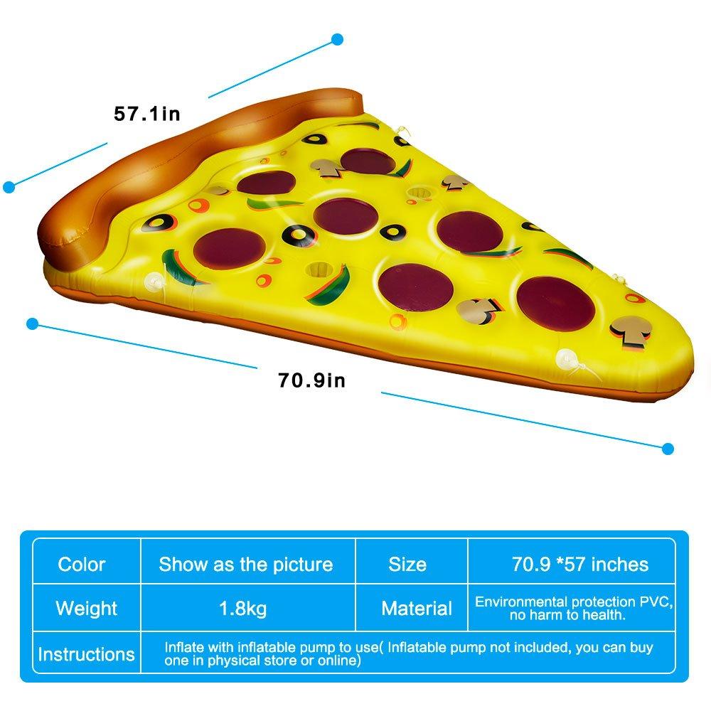 CestMall GIANT Pizza Slice Pool Float Bett aufblasbares Kissen Schwimmbecken Floating Air Kissen aufblasbares Haarverdichtung Neuheit Float Raft Pizza Slice PVC Floating Bett für Strand Schwimmen Wasser sports-Gelb 4bdcaf