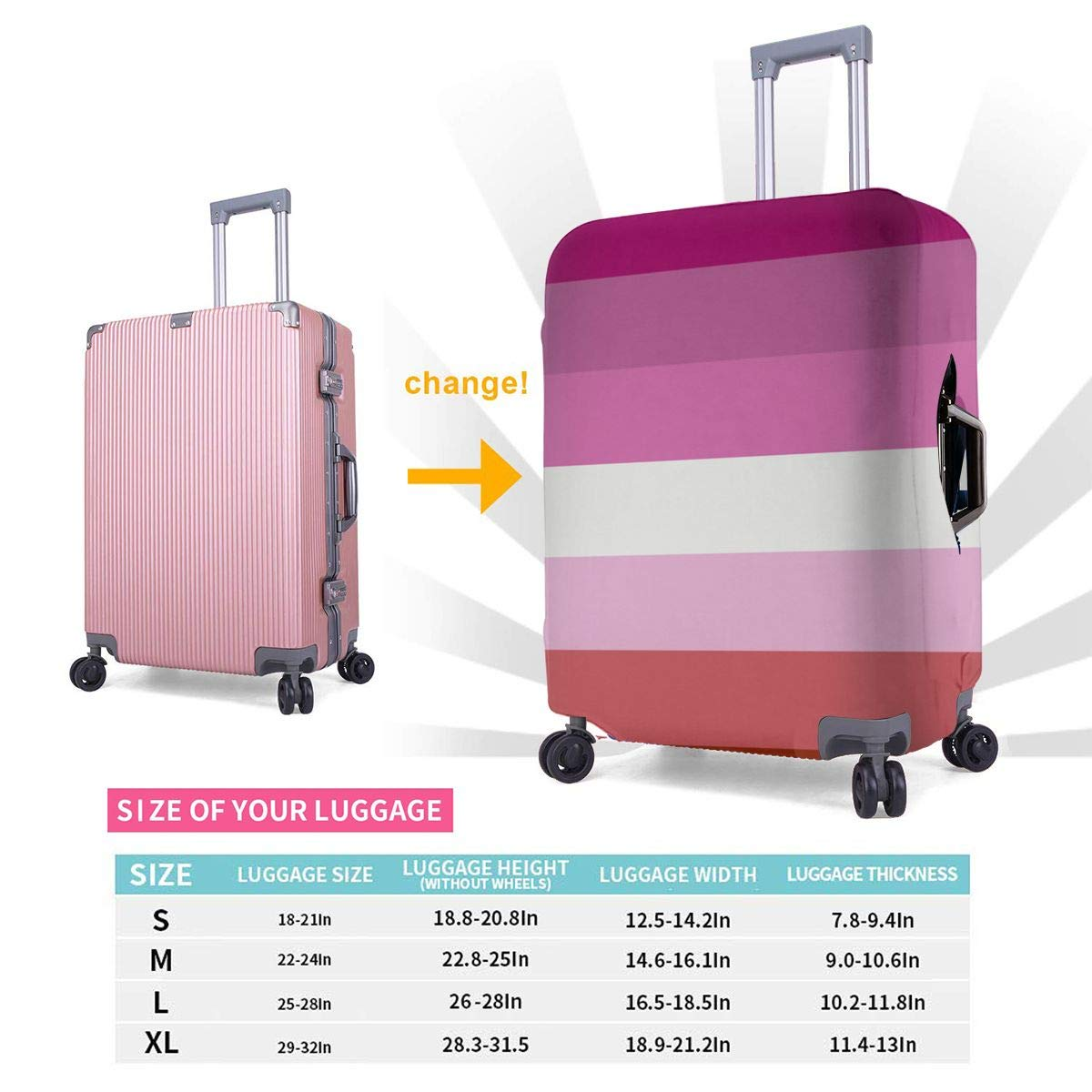 Lesbian Pride Flag Travel Luggage Cover Suitcase Protector Washable Zipper Baggage Cover