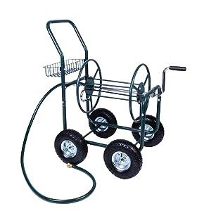 Livebest 4 Wheel Garden Hose Reel Cart Heavy Duty Yard Water Planting with Storage Basket,Holds 390FT Hose
