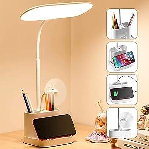 White LED Desk Lamp for Home Office with USB Charging Port Pen Holder Gooseneck Adjustable Reading Light 3 Color Modes Stepless Dimming Touch Table Lamp for Bedroom Bedside Desktop Study Work Room