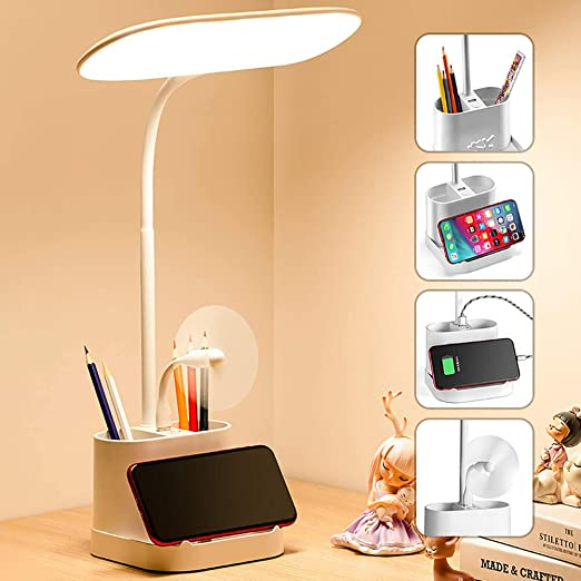 LED Small Desk Lamp for Home Office with USB Charging Port Pen Holder Gooseneck Adjustable Reading Light 3 Color Modes Stepless Dimming Touch Table Lamp for Bedroom Bedside Desktop Study Work Room