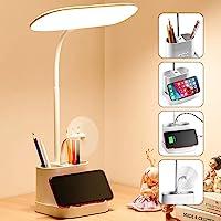 Mubarek LED Desk Lamp for Home Office with USB Charging Port, Pen Holder, Gooseneck Adjustable Small Desk Lamps, 3 Color…