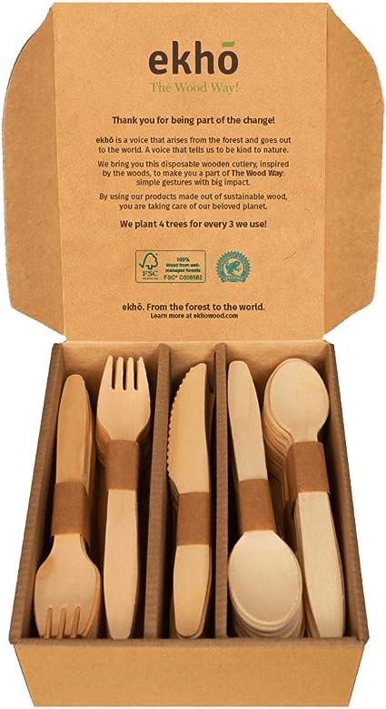 ekhõ The Wood Way! – 100 Cubiertos Desechables Biodegradables de Madera Sostenible – 40 Tenedores + 40 cucharas + 20 Cuchillos - Cubiertos para Llevar ...
