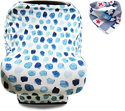 Breastfeeding Cover Carseat Canopy Stroller Cart Covers Stretchy Spacious Car Seat Cover for Girl and Boy Light,Soft Baby Nursing Cover Unisex Bibs