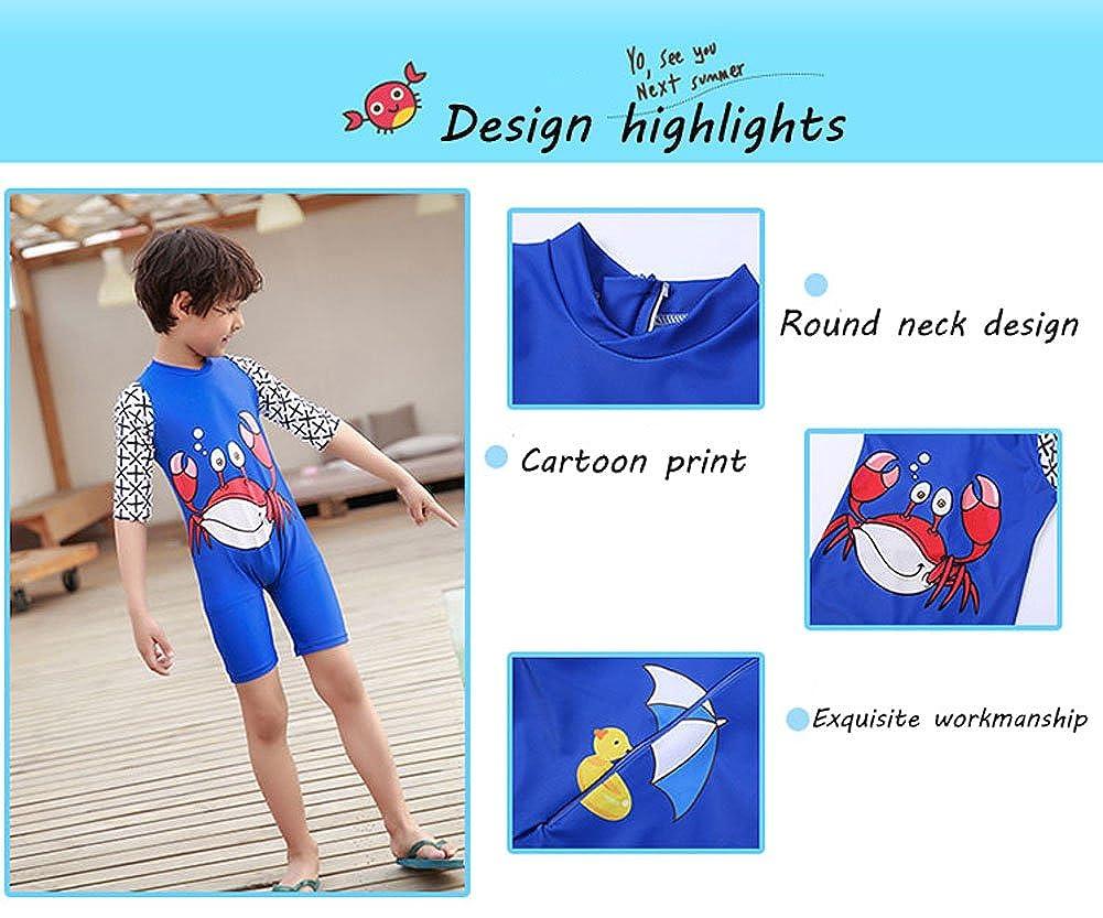 Sun Protection Little Boys Toddler Crab One Piece Rash Guard Swimsuit,Kid Zipper Short Sleeve Swimwear Bathing Suit UPF 50