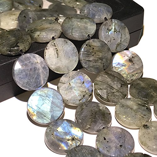[ABCgems] Brazilian Labradorite 15mm Faceted Coin (Labradorite Faceted Coin Beads)