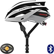Coros Omni Smart Cycling Helmet | Bone Conducting Audio, LED Tail Lights & Removable Visor, 18 Cooling Vents, Bluetooth (Mus