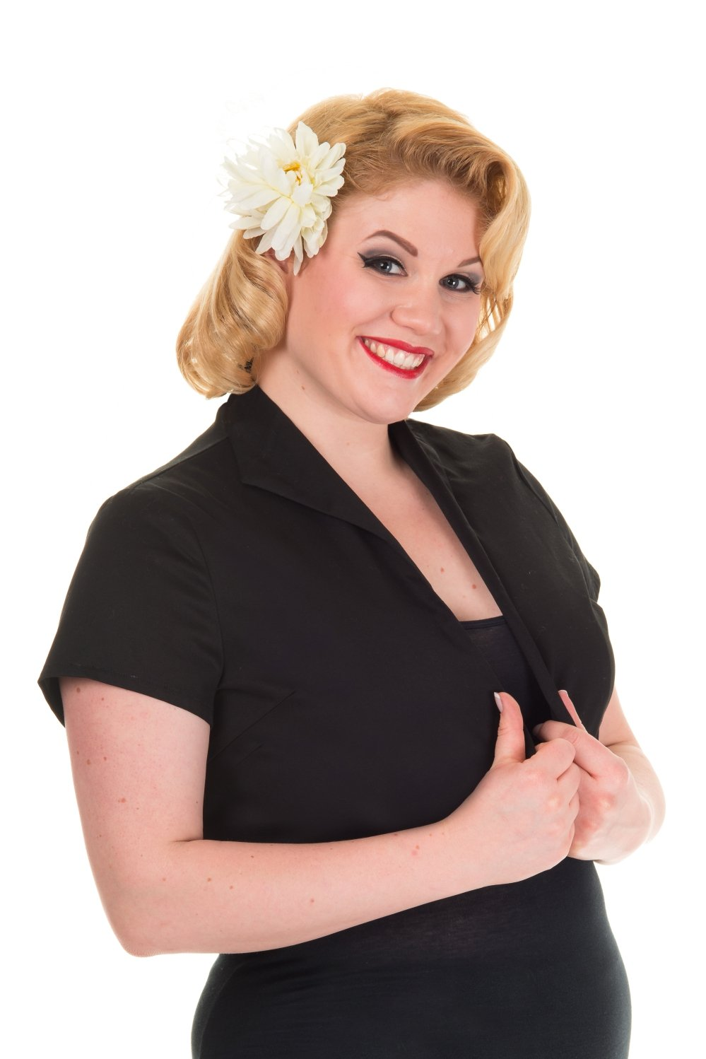 Banned Plus Pinup Rockabilly Lovely Party Short Sleeve Cropped Bolero Top (XXXL, Black Solid)
