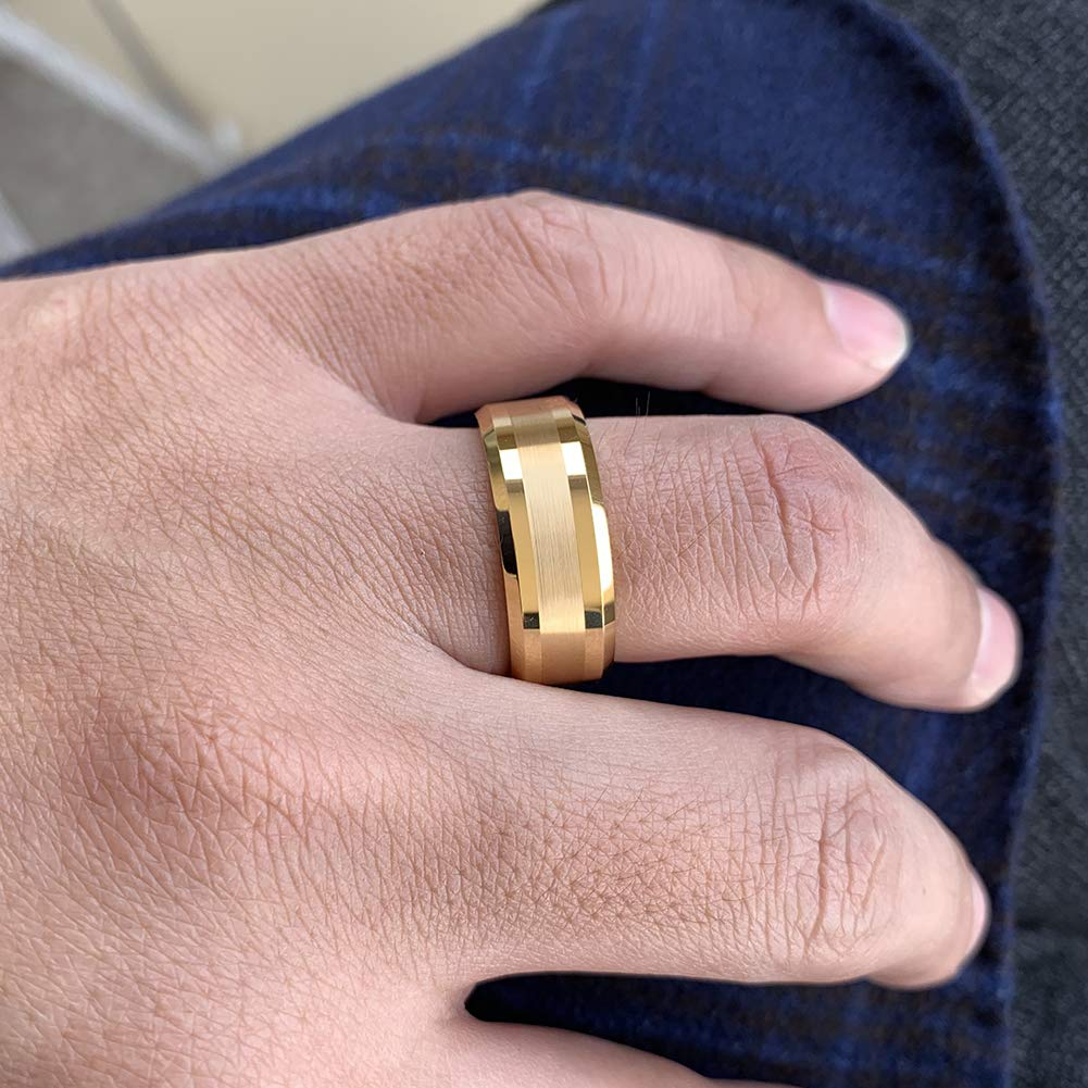 iTungsten 6mm 8mm Silver//18K Gold//Gunmetal Tungsten Rings for Men Women Wedding Bands Beveled Edges Matte Polished Finish Comfort Fit