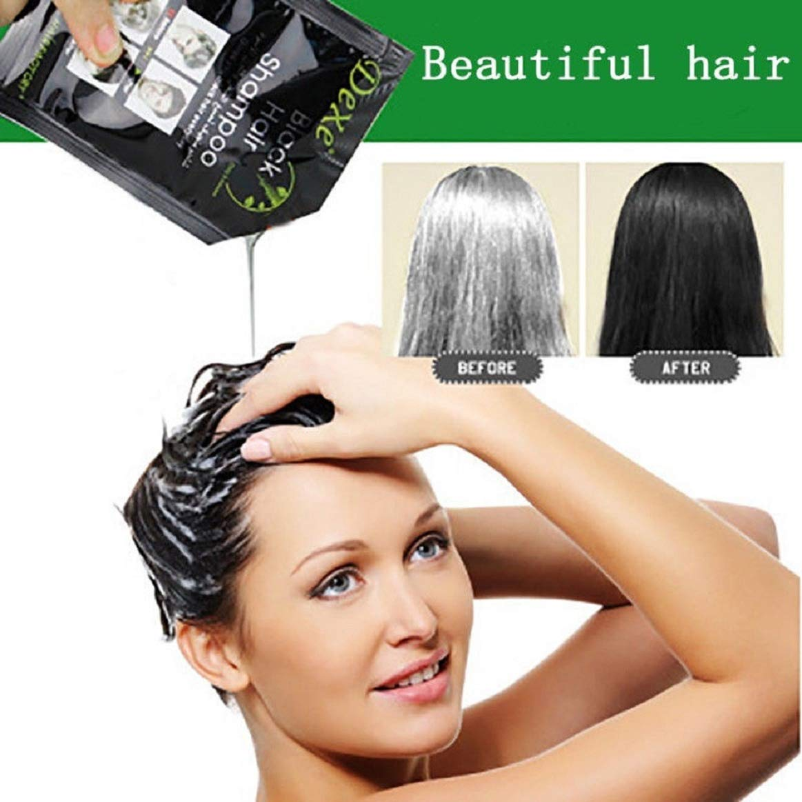 Hair Dye, 10PCS Black Hair Shampoo (Natural Black) White Hair into Black Instant Coerni