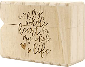 Koyal Wholesale Engraved Real Wood Slim Ring Box, Wedding Engagement Proposal Ring Box, Discreet Thin Ring Box With Hinge (With My Whole Heart for My Whole Life)