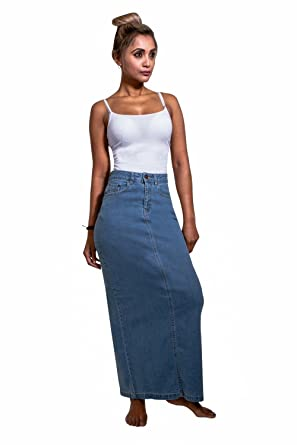 9a6192757 USKEES Jessica Long Denim Skirt - Pale wash Close Fitting Maxi Jean Skirt  US 10-