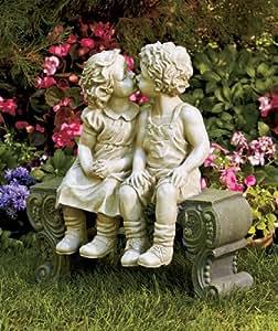 Cute Garden Smooching Children Boy Girl Sitting on Bench Statue Whimsical Flowerbed Yard Outdoor Sculpture Decor