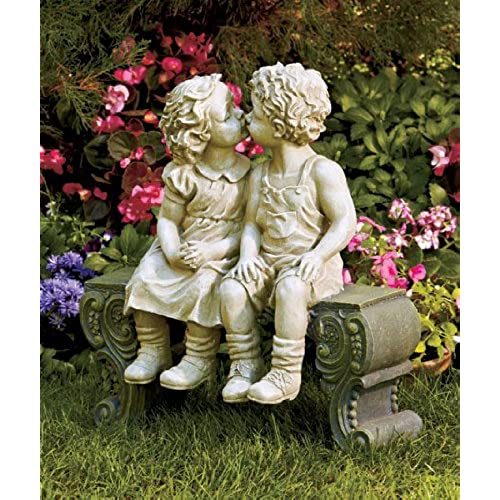 Charmant Cute Garden Smooching Children Boy Girl Sitting On Bench Statue Whimsical  Flowerbed Yard Outdoor Sculpture Decor