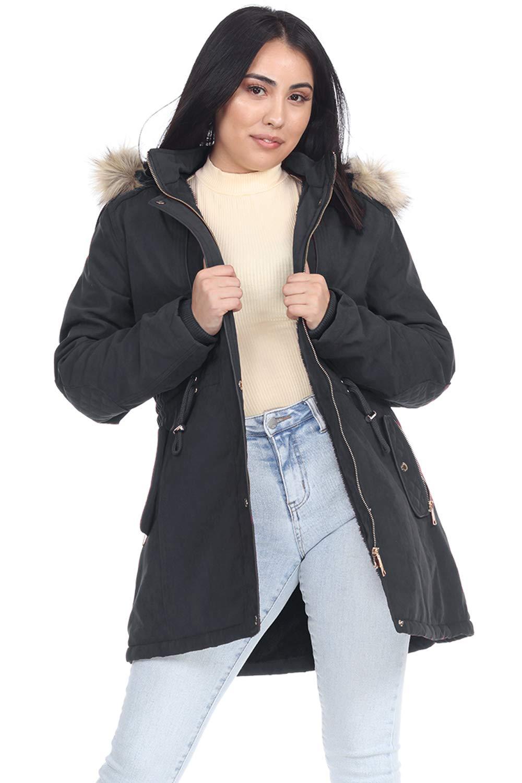 Womens Hooded Warm Winter Coats Long Parka Outwear Jacket with Faux Fur Lined Black by Facitisu
