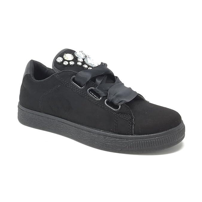 Scarpe Donna da Ginnastica Sneaker Basse Camoscio Eco Pelle nere (36) o00JgwW