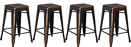 BTEXPERT 24-inch Industrial Metal Vintage Stackable Antique Premium Copper Distressed Counter Bar Stool Modern Set of 4 barstools