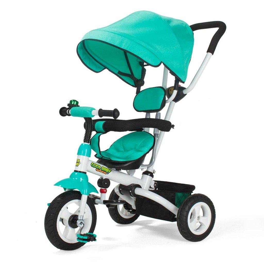子供用三輪車ワンボタン折りたたみカート1-5ベビー自転車ベビー自転車、紫/カーキ/ブルー、80 * 50 * 100センチメートル ( Color : Blue ) B07C4B75F3