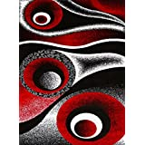 1504 Red Abstract Modern 3'9x4'9 Area Rug Carpet Black White Red