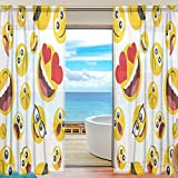 Cheap Cooper girl Cartoon Emoji Decorative Window Curtain Sheer Panel Drapes 55×78 for Living Room Bedroom Kids Room 2 Piece
