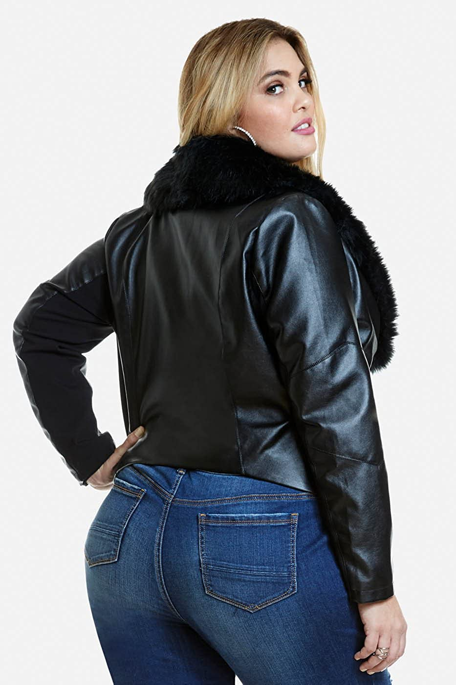 Amazon.com: Womens Plus Size Faux Leather Motorcycle Biker Evana Jacket with Faux Fur Collar: Fashion To Figure: Clothing