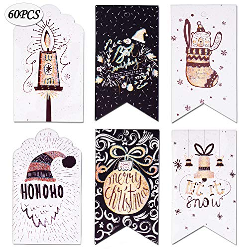 60 Pieces Merry Christmas Gift Tags - Premium Quality Cardstock Tags - Glitter Dipped Craft Tags - Christmas Gift Tags with Golden Rope Perfect for Christmas Gift Wrappers, Christmas Candy Wrappers