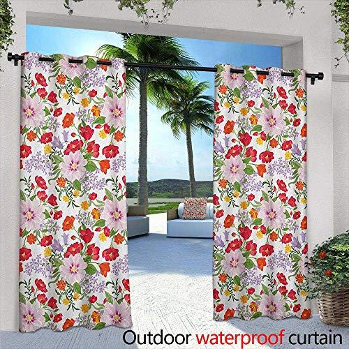 - LOVEEO Watercolor Grommet Outdoor Curtains Flourishing Nature Wildflowers Graceful Garden Carnation Lilac Summer Meadow Embossed Thermal Weaved Blackout 72
