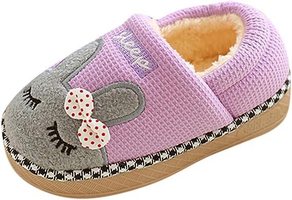 Girls Warm Faux Fur Animal Design Slippers Childrens Kids Indoor Shoes