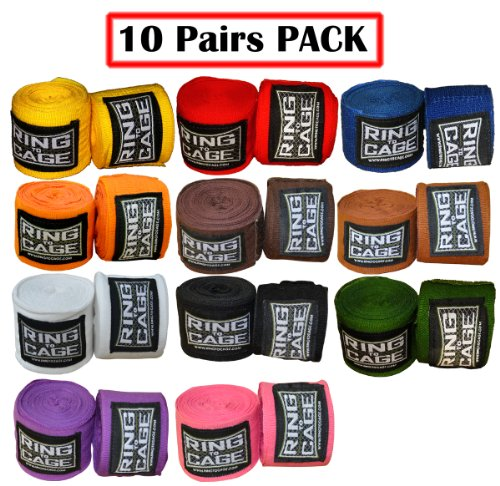 "Ring to Cage Mexican Stretch Handwraps 180"" - (Pack of 10 Pairs) (Black)"