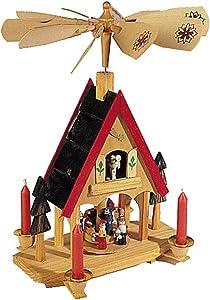 Kurt Adler Wood Alpine House Carousel with Candles, 12-Inch