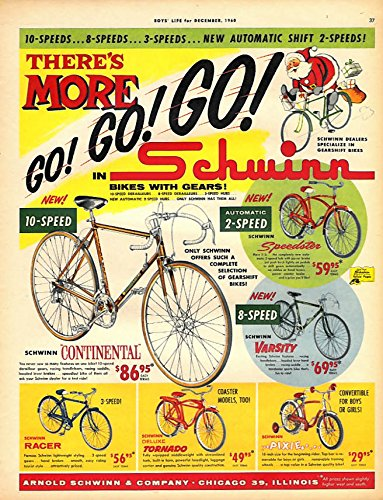 More GO GO GO Schwinn Bicycle ad 1960 Contiental Tornado Pixie Speedster Varsity
