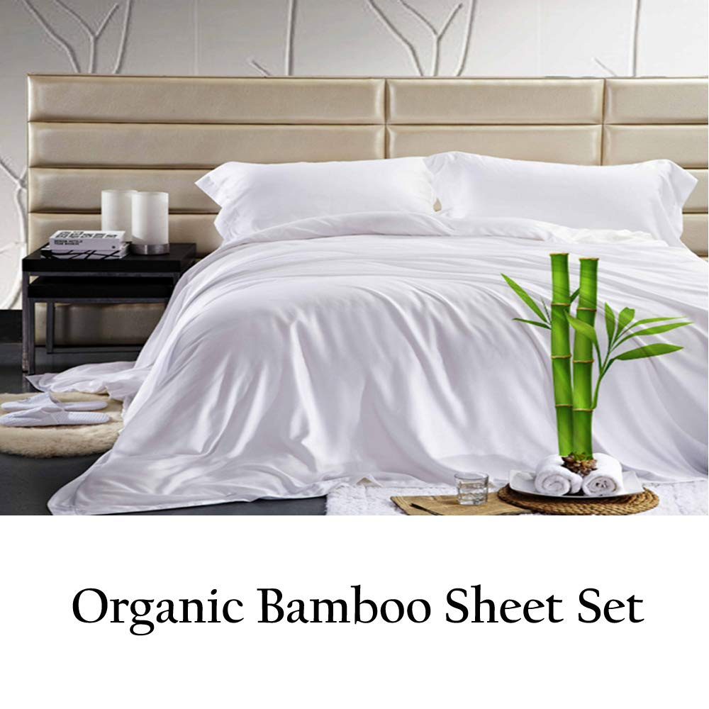 Jvin Fab Softest Bed Sheets - Queen Sheet Set | Moisture Wicking | Temperature Regulated | 4 Piece (Queen, White) by JVIN FAB