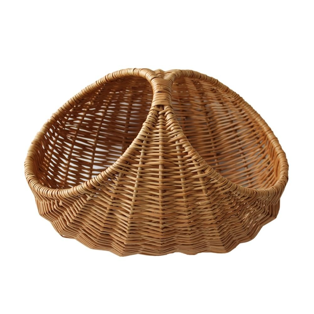 Wicker Oval Ribbed Shopping Basket