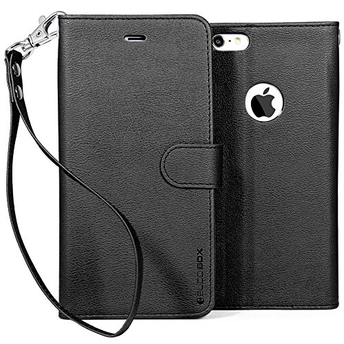 Black Leather Fitted Wallet Case (BUDDIBOX iPhone 6s Case,  [Wrist Strap] Premium PU Leather Wallet Case with [Kickstand] Card Holder and ID Slot for Apple iPhone 6S / 6, (Black))