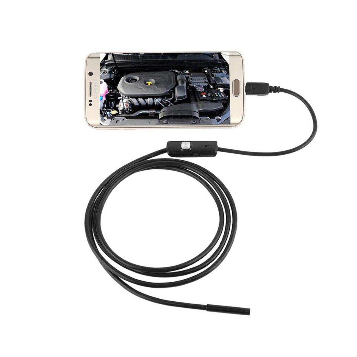 ueetek IP67 7 millimetri impermeabile macchina fotografica di controllo Android endoscopio fotocamera con 6 LED per Cellulare 3, 5 m (Nero) 5m (Nero)