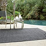 Rectangle Braided Rug 2′ x 3′ Homespice Black Black, Grey Indoor – Outdoor, Durable Eco Friendly Natural Fiber, Easy to Clean, Reversible, Handmade For Sale