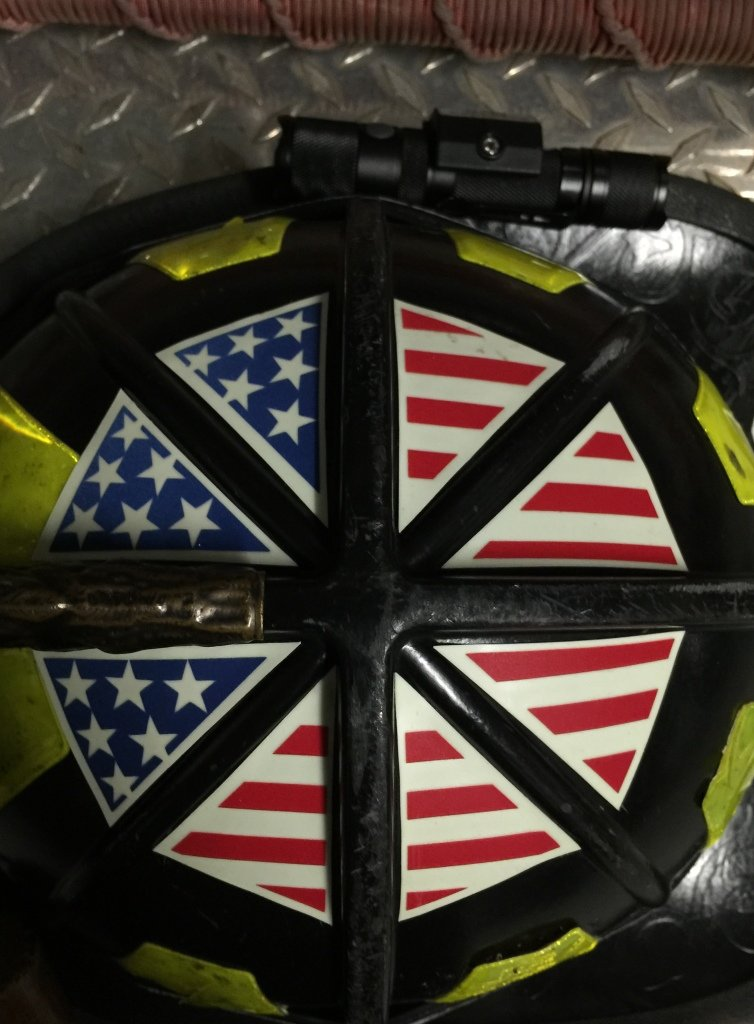IdentiFire American flag crown of helmet sticker Black Thin Red Line glow in the dark reflective and photoluminescent