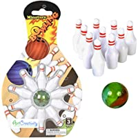 ArtCreativity Mini Bowling Game, Set of 12, Each Set Includes 10 Miniature Pins and 1 Marble Bowling Ball, Tabletop…