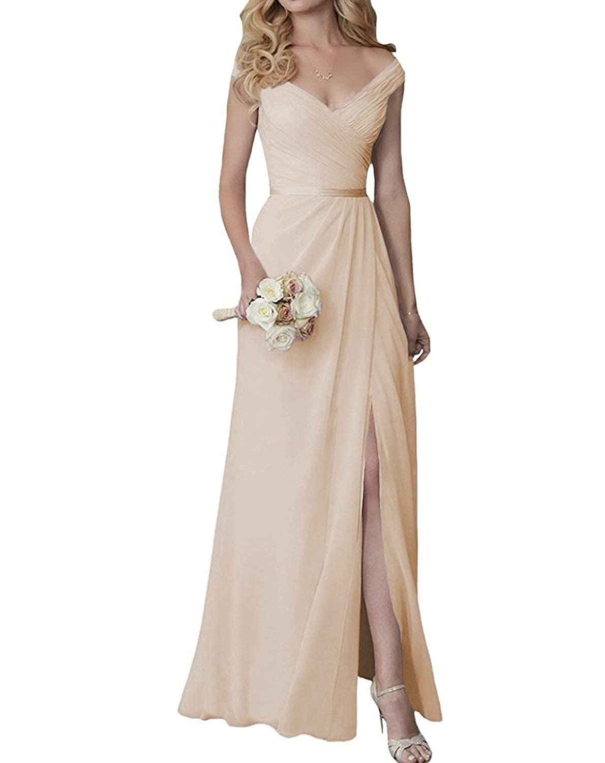 84ef13e127e4 Cute V-Neck Bridesmaid Dresses with Slit Long Chiffon Formal Dress at  Amazon Women's Clothing store: