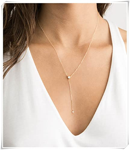 e54d0f7fcca64d Amazon.com: sea-maiden®Dainty Lariat Necklace with CZ, Gold Y ...