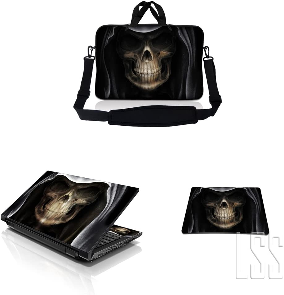 """LSS 15-15.6"""" Laptop & MacBook PRO Sleeve Bag with Matching Laptop Skin Sticker & Mouse Pad Combo 