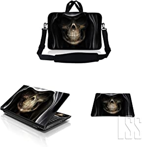 """LSS 15-15.6"""" Laptop & MacBook PRO Sleeve Bag with Matching Laptop Skin Sticker & Mouse Pad Combo   Carrying Case for 14"""" 15"""" 15.6"""" - Hooded Dark Lord Skull"""